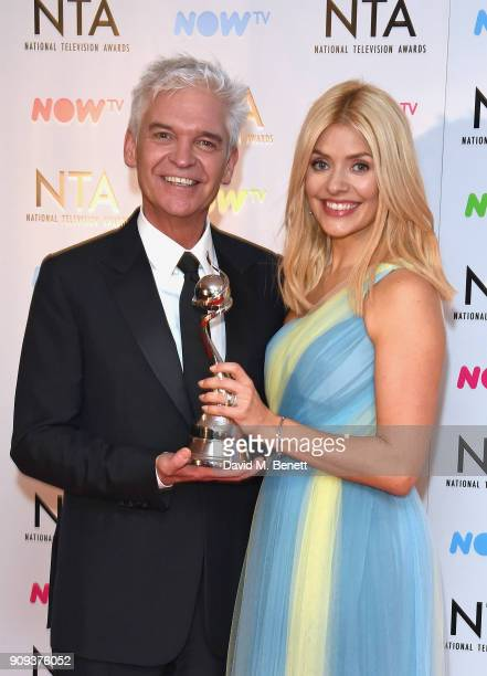 Phillip Schofield and Holly Willoughby winners of the Daytime award for This Morning pose in the press room at the National Television Awards 2018 at...