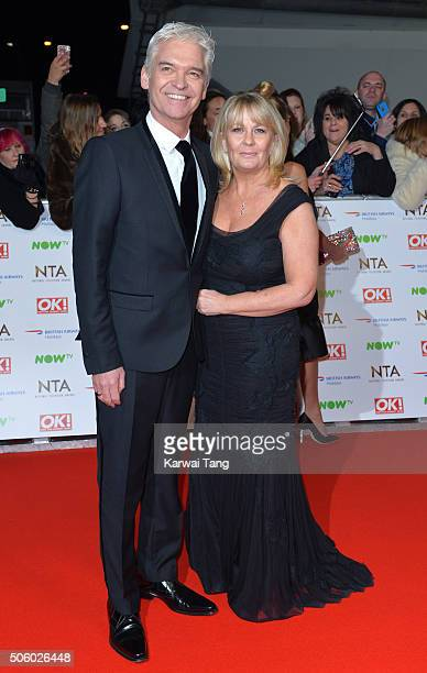 Phillip Schofield and Stephanie Lowe attend the 21st National Television Awards at The O2 Arena on January 20 2016 in London England