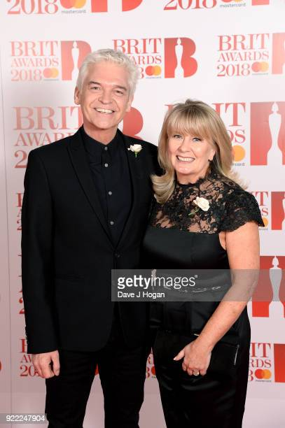AWARDS 2018 *** Phillip Schofield and Stephanie Lowe attend The BRIT Awards 2018 held at The O2 Arena on February 21 2018 in London England