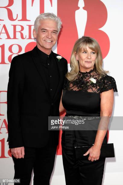 AWARDS 2018*** Phillip Schofield and Stephanie Lowe attend The BRIT Awards 2018 held at The O2 Arena on February 21 2018 in London England