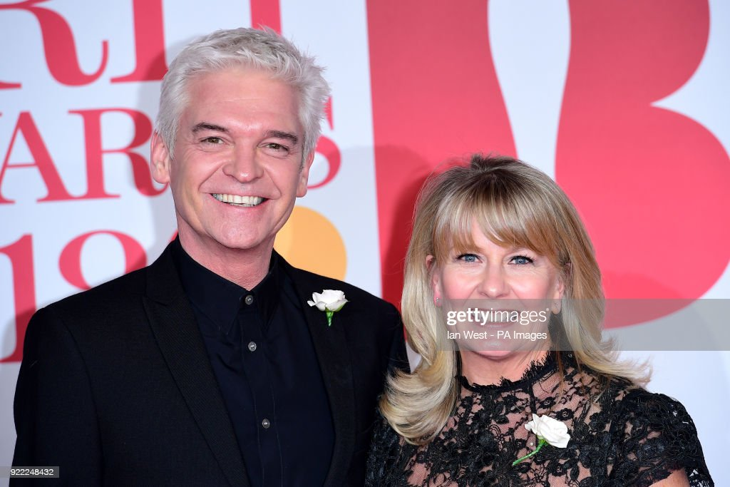 Phillip Schofield and Stephanie Lowe attending the Brit Awards at the O2 Arena, London.