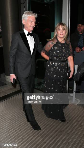 Phillip Schofield and Stephanie Lowe seen attending National Television Awards at The O2 on January 22 2019 in London England