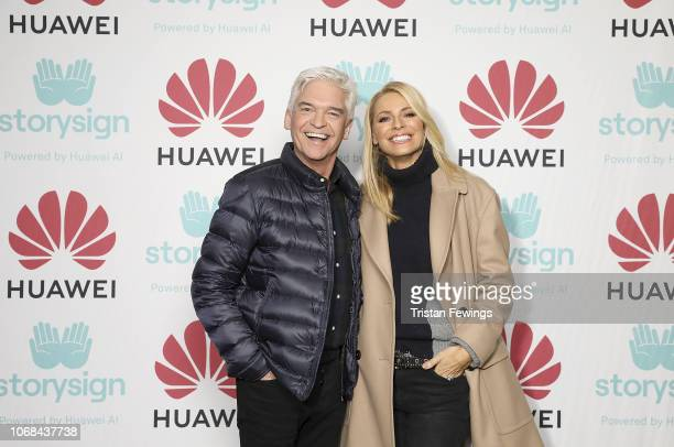 Phillip Schofield and Tess Daly attend Winterland London for the launch of Huawei's StorySign App with the British Deaf Association on December 4...