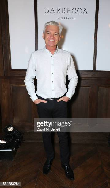 Phillip Schofield attends Jamie Oliver's new Barbecoa restaurant a classic steakhouse reimagined in the heart of Piccadilly on February 8 2017 in...