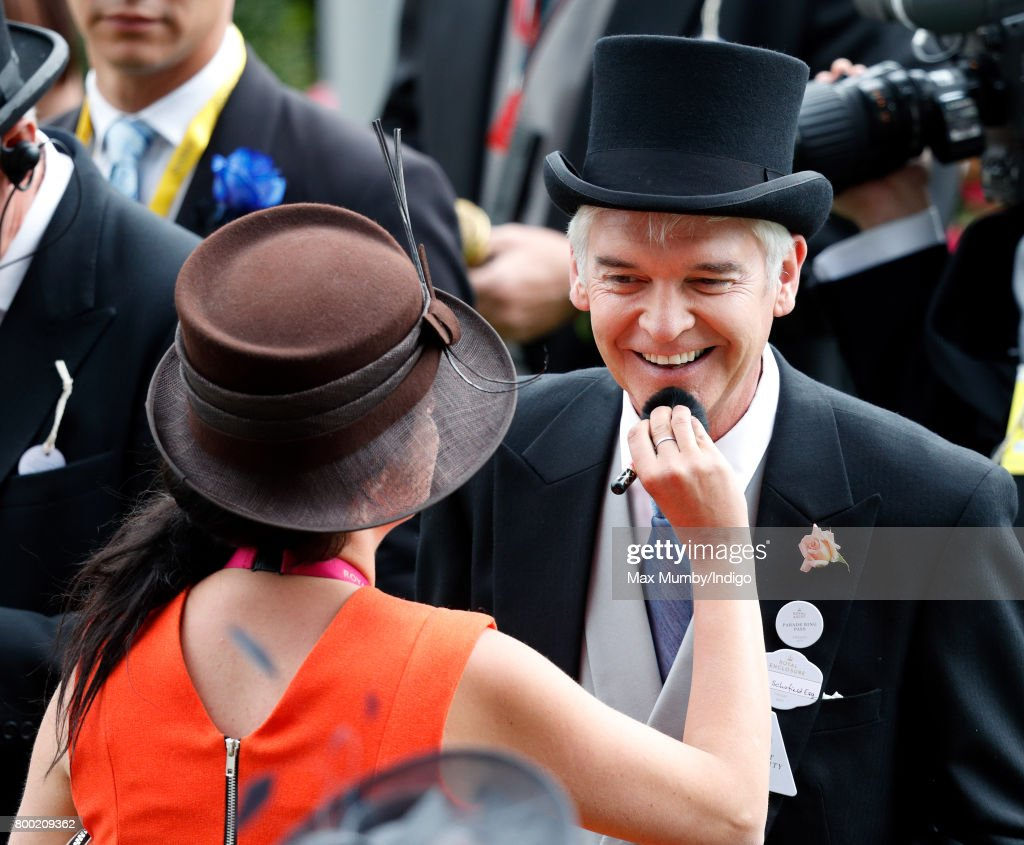 Phillip Schofield has his make-up reapplied as he attends day 4 of Royal Ascot at Ascot Racecourse on June 23, 2017 in Ascot, England.