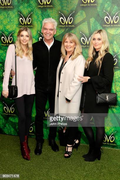 Phillip Schofield , his wife Stephanie Lowe , Molly Lowe and Ruby Lowe attend the Cirque du Soleil OVO premiere at Royal Albert Hall on January 10,...