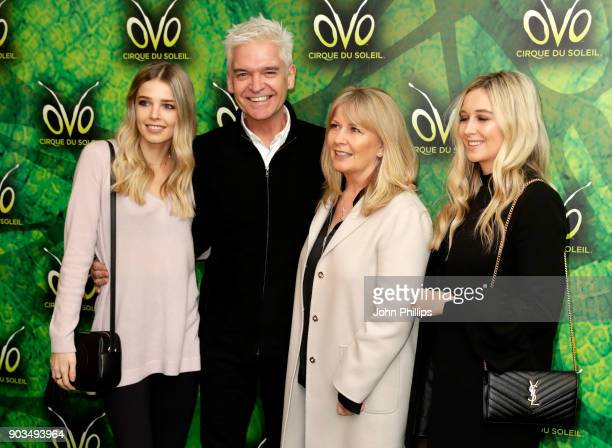 Phillip Schofield his wife Stephanie Lowe Molly Lowe and Ruby Lowe attend the Cirque du Soleil OVO premiere at Royal Albert Hall on January 10 2018...