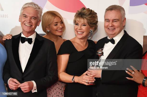 Phillip Schofield Holly Willoughby Ruth Langsford and Eamonn Holmes pose in the Winners Room during the National Television Awards held at The O2...
