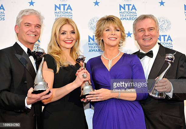 Phillip Schofield Holly Willoughby Ruth Langsford and Eamonn Holmes winners of Daytime award pose in the Winners room at the National Television...