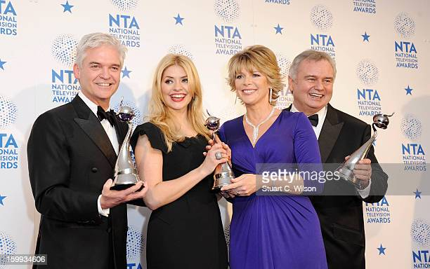 Phillip Schofield Holly Willoughby Ruth Langsford and Eamonn Holmes pose in the Winners room at the National Television Awards at 02 Arena on January...