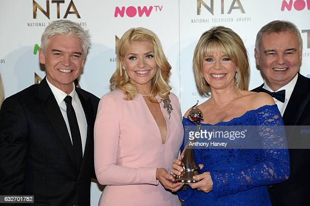 Phillip Schofield Holly Willoughby Ruth Langsford and Eamonn Holmes with the Best Live Magazine Show award for This Morning backstage during the...