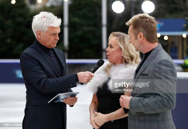 Phillip Schofield interviews Jayne Torvill and Christopher Dean during a photocall for the new series of Dancing On Ice at the Natural History Museum...