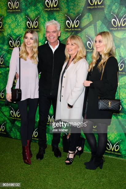 Phillip Schofield with wife and daughters arrive at the Cirque du Soleil OVO premiere at Royal Albert Hall on January 10, 2018 in London, England.