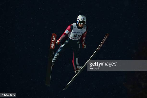 Phillip Sjoeen of Norway competes in the first round in the Large Hill Individual during the day one of FIS Men's Ski Jumping World Cup Sapporo at...
