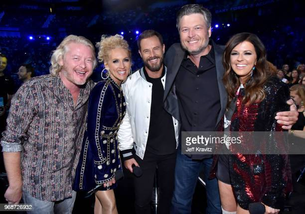 Phillip Sweet Kimberly Schlapman Jimi Westbrook Blake Shelton and Karen Fairchild attend the 2018 CMT Music Awards at Bridgestone Arena on June 6...