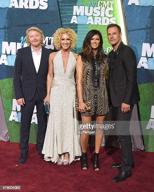 Phillip Sweet Kimberly Schlapman Karen Fairchild and Jimi Westbrook of Little Big Town attend the 2015 CMT Music awards at the Bridgestone Arena on...