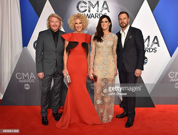 Phillip Sweet, Kimberly Schlapman, Karen Fairchild, and Jimi Westbrook of Little Big Town attend the 49th annual CMA Awards at the Bridgestone Arena...