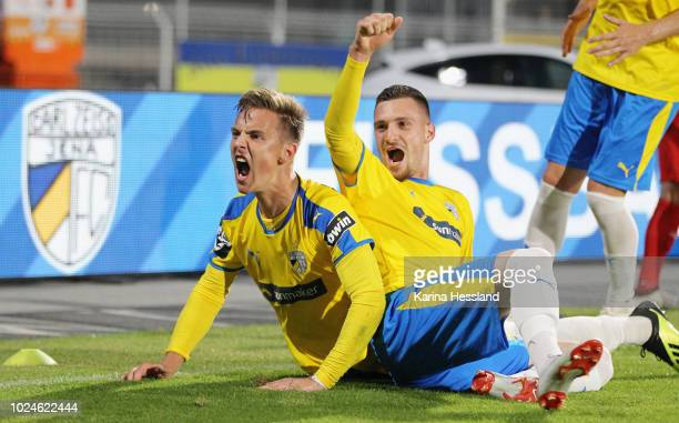 Phillip Tietz celebrates the third goal with Maximilian Wolfram of Jena during the third Liga match between FC Carl Zeiss Jena and FSV Zwickau at...