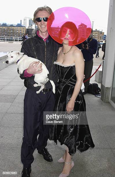 Phillip Treacey and Isabella Blow attend the When Phillip met Isabella Exhibition featuring a range of Phillip Treacey Hats designed for Isabella...