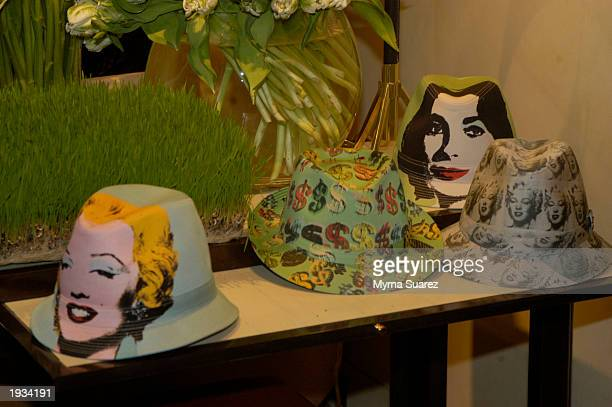 Phillip Treacy Hats are displayed at a cocktail reception hosted by Cornelia Guest to honor Philip Treacy at the Bergdorf Goodman April 15, 2003 in...