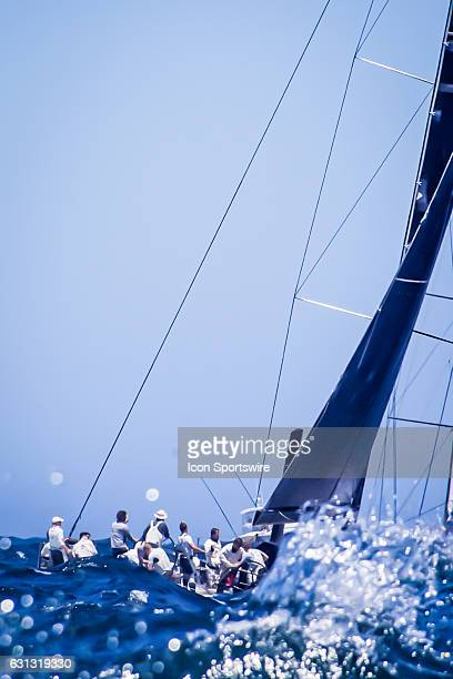 Phillip turner's 'Alive' skippered by D Hine pictured in a heavy swell entering the Pacific Ocean as the fleet heads out of Sydney Harbour on the 628...