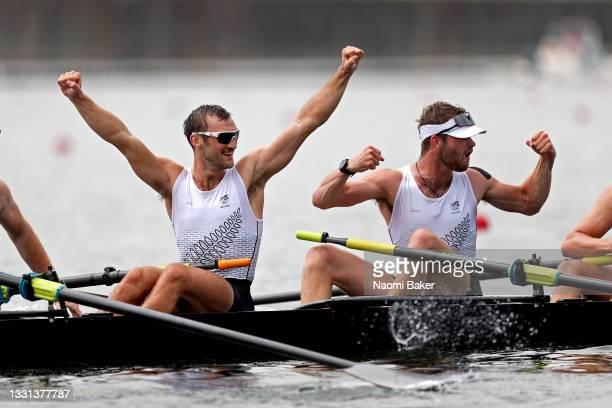 Phillip Wilson and Daniel Williamson of Team New Zealand celebrate winning the gold medal during the Men's Eight Final A on day seven of the Tokyo...