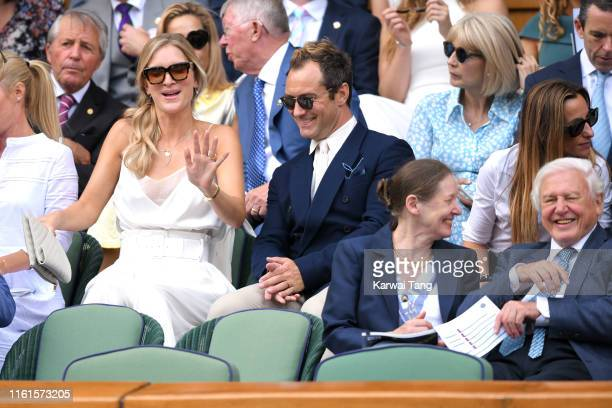 Phillipa Law Jude Law Susan Attenborough and David Attenborough attend day eleven of the Wimbledon Tennis Championships at All England Lawn Tennis...