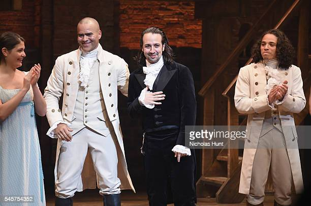 Phillipa Soo Christopher Jackson LinManuel Miranda and Anthony Ramos attend LinManuel Miranda's final performance of Hamilton on Broadway at Richard...
