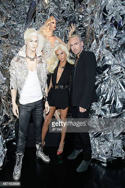 Phillipe Blond and David Blond pose next to Phillipe Blond mannequins during Rootstein Presents Phillipe Blond The Blonds Collection A Retrospective...