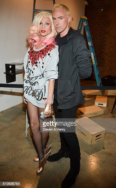 Phillipe Blond and David Blond poses baskstage at The Blonds Fall 2016 at Milk Studios on February 17 2016 in New York City