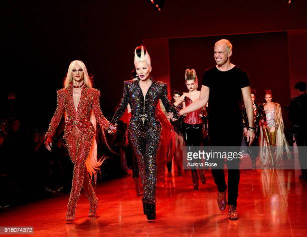 Phillipe Blond Daphne Guinness and David Blond walk the Runway after The Blonds show at Spring Studios on February 13 2018 in New York City