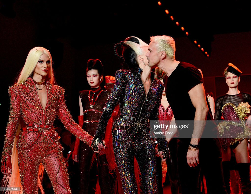 Phillipe Blond, Daphne Guinness and David Blond walk the Runway after The Blonds show at Spring Studios on February 13, 2018 in New York City.