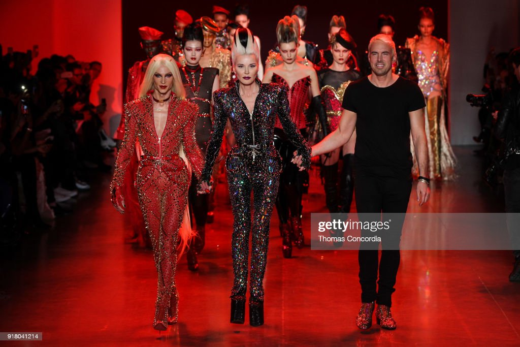 Phillipe Blond, Daphne Guinness, and David Blond walk the runway during the finale of The Blonds Fall 2018 Collection runway show with makeup by Kabuki Magic and the MAC Pro team, hair by Kien Hoang and Oribe Hair Care Products at Gallery I at Spring Studios on February 13, 2018 in New York City.