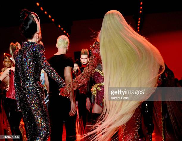 Phillipe Blond Daphne Guinness and David Blond walk the Runway for The Blonds at Spring Studios on February 13 2018 in New York City