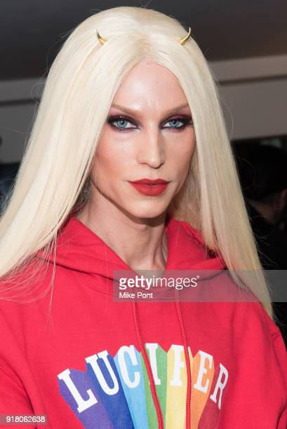Phillipe Blond poses backstage at The Blonds fashion show during New York Fashion Week The Shows at Spring Studios on February 13 2018 in New York...