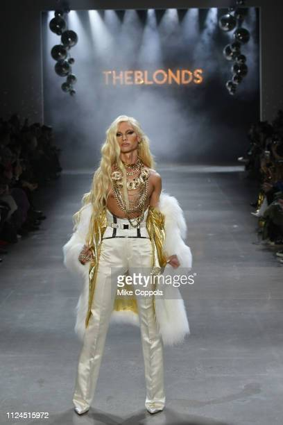Phillipe Blond walks the runway for the The Blonds fashion show during New York Fashion Week The Shows at Gallery I at Spring Studios on February 12...