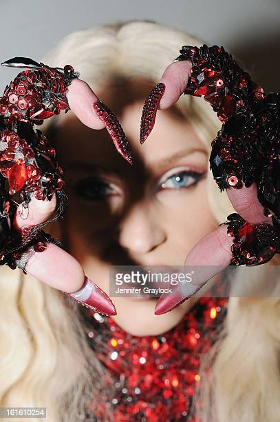 Phillipe Blond wears a nail design created by CND for The Blonds New York Fashion Week Fall/Winter 2013 at Milk Studios on February 12 2013 in New...