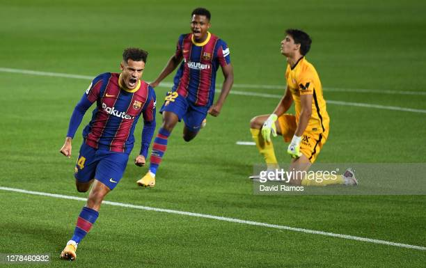 Phillipe Coutinho of Barcelona celebrates after scoring his team's first goal during the La Liga Santander match between FC Barcelona and Sevilla FC...