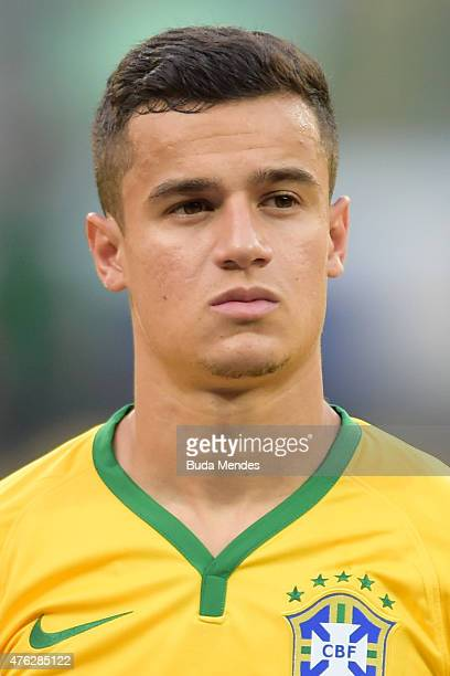 Phillipe Coutinho of Brazil looks on before the International Friendly Match between Brazil and Mexico at Allianz Parque on June 7 2015 in Sao Paulo...