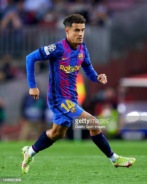 Phillipe Coutinho of FC Barcelona in action during the UEFA Champions League group E match between FC Barcelona and Dinamo Kiev at Camp Nou on...