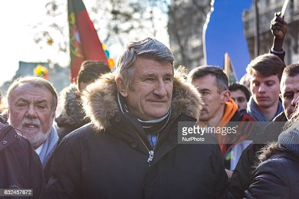 Phillipe de Villiers take part in a march to protest against abortion in Paris on January 22 2017 Tens of thousands of protesters took to the streets...