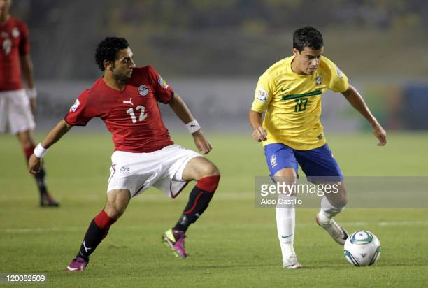 Phillipe from Brazil struggles for the ball with Mohamed Sala from Egypt during a match of Group E between Brazil and Egypt as part of the FIFA U20...