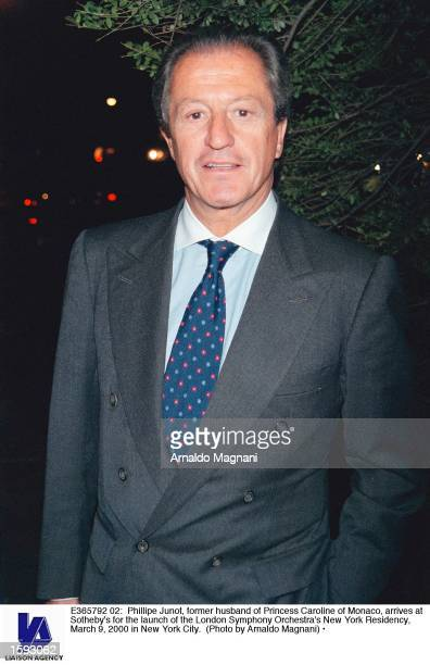 Phillipe Junot, former husband of Princess Caroline of Monaco, arrives at Sotheby's for the launch of the London Symphony Orchestra's New York...