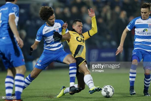Phillipe Sandler of PEC Zwolle Giovanni Korte of NAC Breda during the Dutch Eredivisie match between PEC Zwolle and NAC Breda at the MAC3Park stadium...