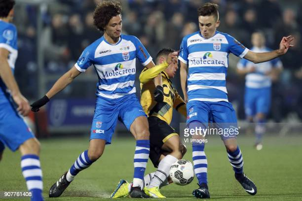 Phillipe Sandler of PEC Zwolle Giovanni Korte of NAC Breda Ryan Thomas of PEC Zwolle during the Dutch Eredivisie match between PEC Zwolle and NAC...