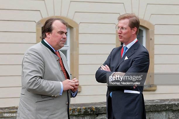 Phillipp Fuerst zu Hohenlohe-Langenburg and Erbprinz Bernhard von Baden attend the visit of Prince Charles, Prince of Wales at Schloss Langenburg on...