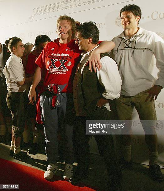 Phillipp Lahm Oliver Kahn and Michael Ballack of Bayern Munich pose for the photographers at the arrival at the Bayern Munich Bundesliga Champions...