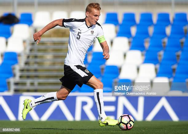 Phillipp Lienhart of Austria runs with the ball during the international friendly match between Austria U21 and Netherlands U21 at Pinatar Arena on...