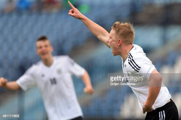 Phillipp Ochs celebrates his goal during the UEFA Under17 Elite Round between Germany and Ireland at Stadion FC Obilic on March 28 2014 in Belgrade...