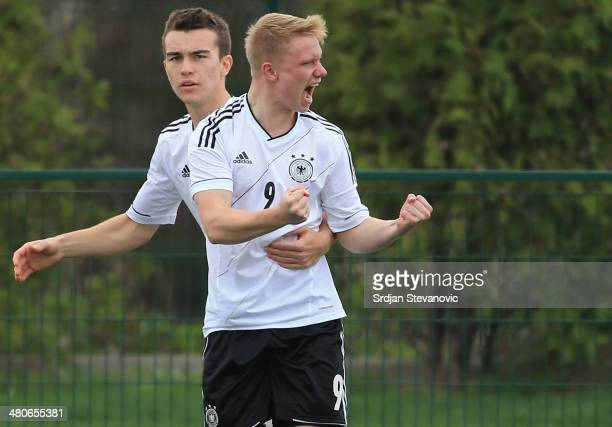 Phillipp Ochs of Germany celebrate his the goal with Benedikt Gimber during the UEFA Under17 Elite Round between Georgia and Germany at Stadion Stara...